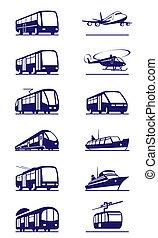 ensemble, transport, public, icône