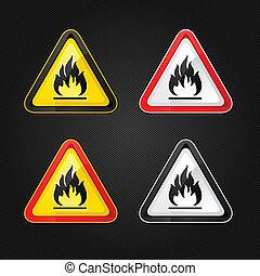 ensemble, triangle, danger, hautement, avertissement, signe inflammable