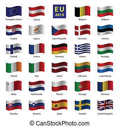 ensemble, union, pays, od, drapeaux, européen