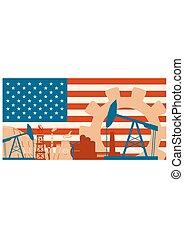 ensemble, usa, puissance, icônes, énergie, drapeau