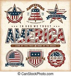 ensemble, usa, vendange, étiquettes, fetes, patriotique