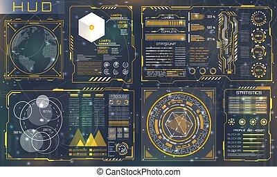 ensemble, utilisateur, panneaux, interface, interactif, futuriste, hud, design., contrôle, éléments