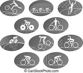ensemble, vélo, icônes, vecteur, course, cyclisme, sport