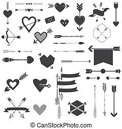 ensemble, valentine, -, flèches, jour, vecteur, mariage, cœurs, album, conception
