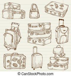 ensemble, valises, vendange, -, vecteur, conception, album