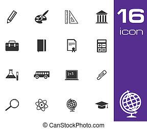 ensemble, vecteur, arrière-plan noir, blanc, education, icône