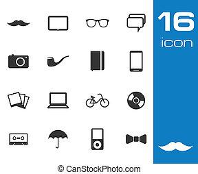 ensemble, vecteur, arrière-plan noir, hipster, blanc, icône