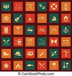 ensemble, vecteur, camping, icônes