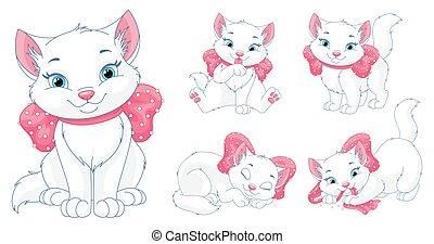 ensemble, vecteur, chat, arc, dessin animé, rose, blanc, clipart
