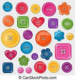 ensemble, vecteur, coloré, boutons