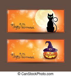 ensemble, vecteur, halloween, bannières