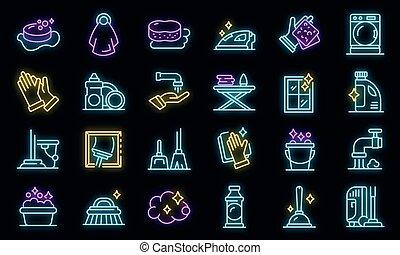 ensemble, vecteur, ménage, icônes, néon