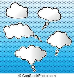 ensemble, vecteur, nuages