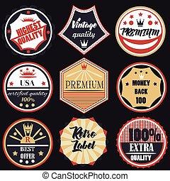 ensemble, vecteur, prime, étiquettes, insignes, vendange, qualité