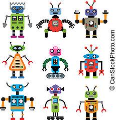ensemble, vecteur, robots