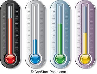 ensemble, vecteur, thermomètres