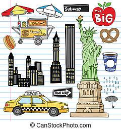 ensemble, vecteur, ville, york, doodles, nouveau