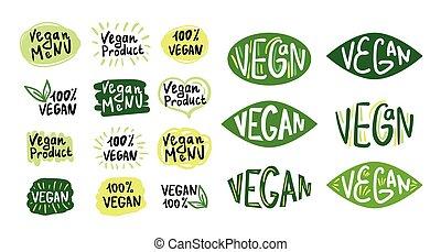 ensemble, vegan, logos, icônes, 2