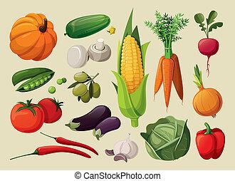 ensemble, vegetables., délicieux