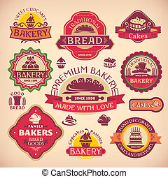 ensemble, vendange, étiquettes, boulangerie, vecteur, divers