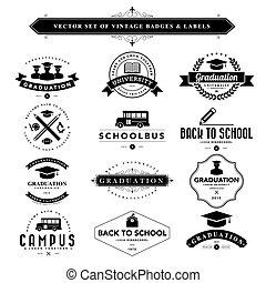 ensemble, &, vendange, étiquettes, noir, blanc, insignes