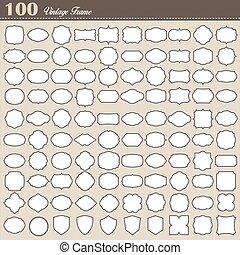 ensemble, vendange, cadre, fond, vide, 100, blanc
