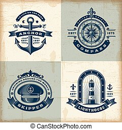 ensemble, vendange, nautique, étiquettes