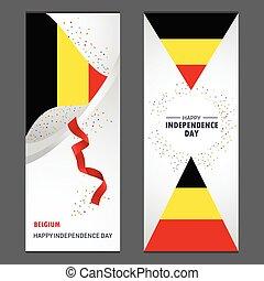 ensemble, vertical, belgique, fond, confetti, célébration, bannière, jour, indépendance, heureux