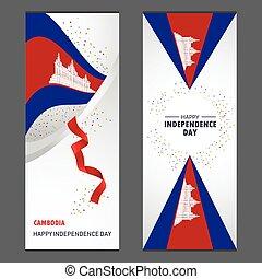 ensemble, vertical, cambodge, fond, confetti, célébration, bannière, jour, indépendance, heureux