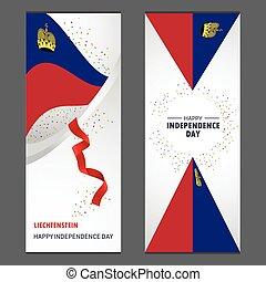 ensemble, vertical, liechtenstein, fond, confetti, célébration, bannière, jour, indépendance, heureux