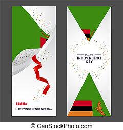 ensemble, vertical, zambie, fond, confetti, célébration, bannière, jour, indépendance, heureux