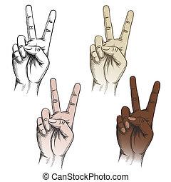 ensemble, victoire, geste, doigts