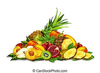 ensemble, vie, exotique, encore, fruits