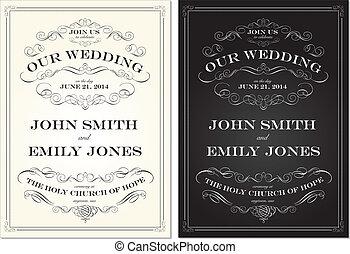 ensemble, vieux, cadre, vecteur, façonné, mariage