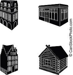 ensemble, vitraux, maison, hut., café, bâtiment, style, style, icônes, fenetres, noir, stockage, résidentiel, symbole, web., illustration, collection, architectural, petite maison, bâtiment, bois, vecteur, anglaise