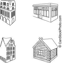 ensemble, vitraux, maison, hut., café, bâtiment, style, style, icônes, fenetres, stockage, résidentiel, symbole, web., illustration, collection, architectural, petite maison, bâtiment, contour, bois, vecteur, anglaise