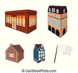 ensemble, vitraux, maison, hut., café, bâtiment, style, style, icônes, fenetres, stockage, résidentiel, symbole, web., illustration, collection, architectural, petite maison, dessin animé, bâtiment, bois, vecteur, anglaise