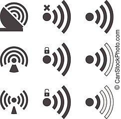 ensemble, wifi, icône