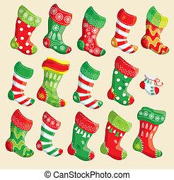 ensemble, x-mas, année, éléments, divers, stockings., nouveau, noël, design.