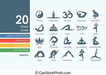 ensemble, yoga, icônes