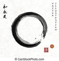 enso, zen, papier, riz, cercle, vendange