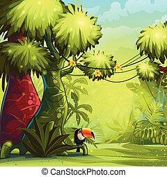 ensoleillé, illustration, matin, toucan, jungle, oiseau