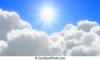 ensoleillé, nuages, sur, vol