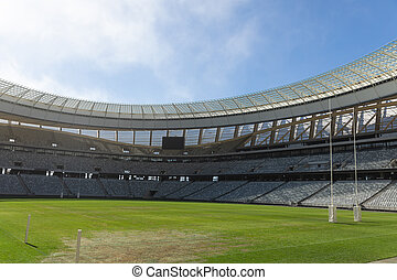 ensoleillé, stade, jour, rugby