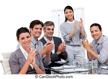 enthousiaste, businessteam, applaudir, présentation, après