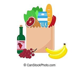 entiers, achats, frais, sac, papier, nourriture.