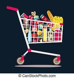 entiers, achats, sain, product., supermarché, charrette, frais