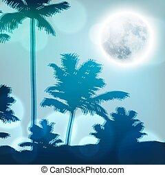 entiers, arbres, lune, nuit paume, paysage