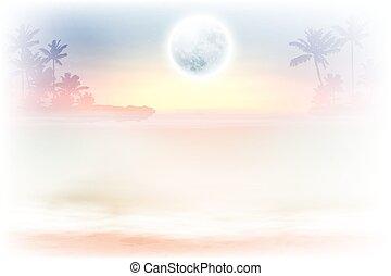 entiers, arbres, lune, nuit paume, plage