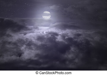 entiers, au-dessus, nuages, nuit, vu, lune